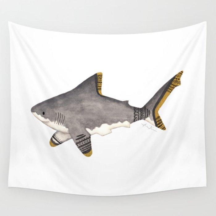 516356459d86 Tribal Shark Wall Tapestry by lindusmaximus86