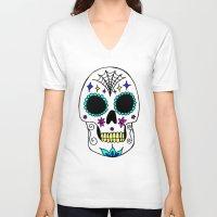 sugar skull V-neck T-shirts featuring Sugar Skull by Julie Erin Designs
