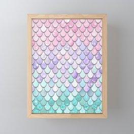 Mermaid Pastel Pink Purple Aqua Teal Framed Mini Art Print