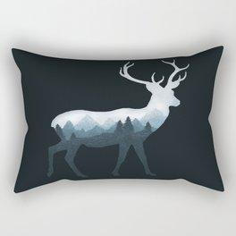 Deer Roe Fawn Elk Moose Double Exposure Surreal Wildlife Animal Rectangular Pillow