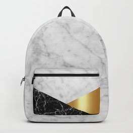 White Marble Black Granite & Gold #944 Backpack