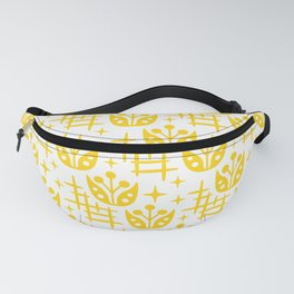 Mid Century Modern Space Flower Pattern Yellow Fanny Pack