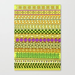 Yzor pattern 011 Yellow Things Canvas Print