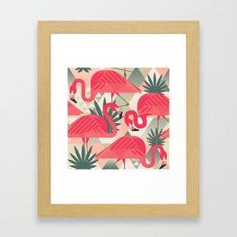 Retro Flamingo Patter Framed Art Print