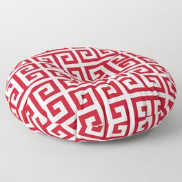Pomegranate Red and White Greek Key Pattern Floor Pillow