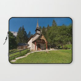 Small church surrounded by nature under the Seekofel Laptop Sleeve