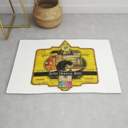 Vintage Zeller Schwarze Katz Wine Bottle Label Print Rug
