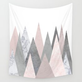 BLUSH MARBLE GRAY GEOMETRIC MOUNTAINS Wall Tapestry