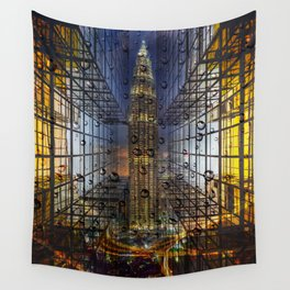 Rain in a City Wall Tapestry