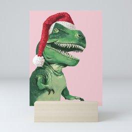 Santa T-Rex in Pink Mini Art Print