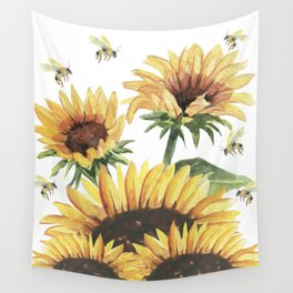 Sunflowers and Honey Bees Wall Tapestry