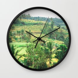 Indonesian Rice Terraces | Nature Landscape Photography of Green Rice Fields in Bali Indonesia Wall Clock