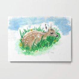 Shy Bambi Deer Metal Print