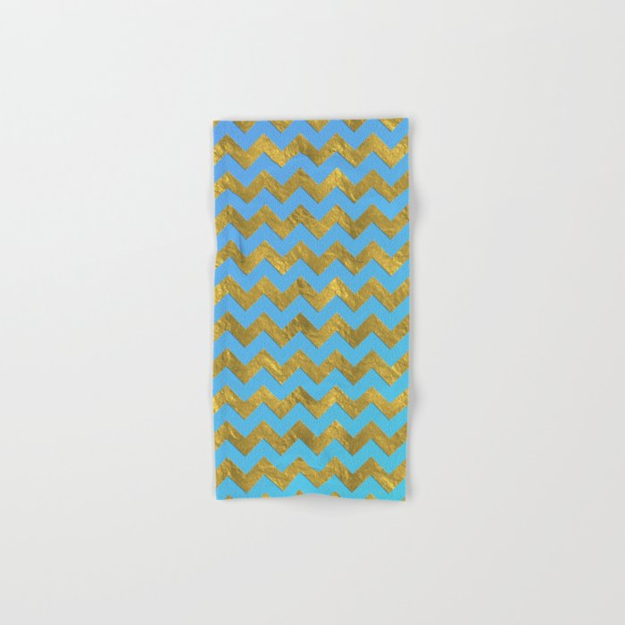 Gold glitter chevron on turquoise backround- pattern Hand & Bath Towel