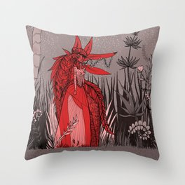 Woman Wolf 2 Throw Pillow