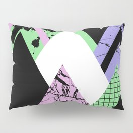 Textured Points - Marbled, pastel, black and white, paint splat textured geometric triangles Pillow Sham