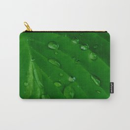 Green Leaf Macro Water Droplets Carry-All Pouch