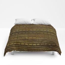Golden Tribal Pattern on Dark wood Comforters