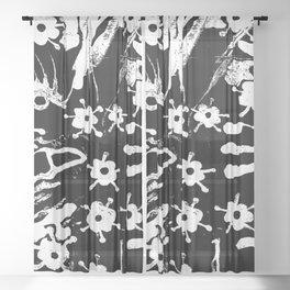 distressed flowers Sheer Curtain