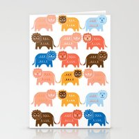 lions Stationery Cards featuring Lions  by Claire Brown Surface Pattern