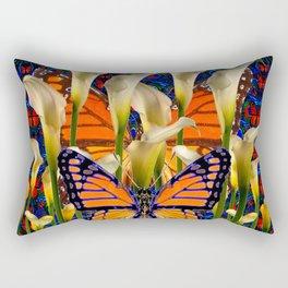 DECORATIVE WHITE CALLA LILIES & MONARCH BUTTERFLY GARDEN COLLAGE Rectangular Pillow