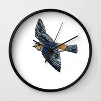 swallow Wall Clocks featuring Swallow by Rebecca Mcmillan