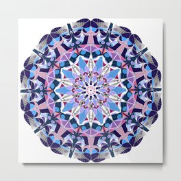 blue grey white pink purple mandala Metal Print