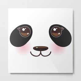 Kawaii funny panda white muzzle with pink cheeks and big black eyes  on white background Metal Print