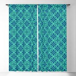 DeMEDICI emerald green royal blue repeat seamless pattern Blackout Curtain