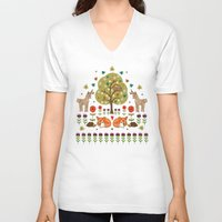 wild things V-neck T-shirts featuring Woodland Wild Things by Angie Spurgeon