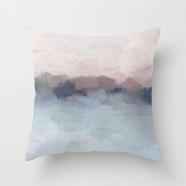 Blush Pink, Mauve Purple, Navy Light Blue, Abstract Painting, Modern Wall Art, Ocean Waves Horizon Throw Pillow