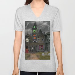 Halloween Haunted Mansion Unisex V-Neck