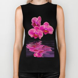 Mystical Pink Orchids Reflections Biker Tank