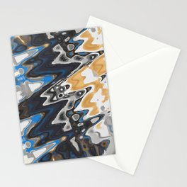 Distorted Paints of Blue Gray Gold Stationery Cards