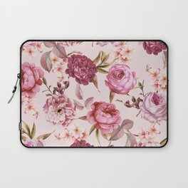 Blush Pink and Red Watercolor Floral Roses Laptop Sleeve
