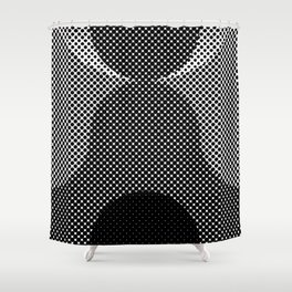 Shadows, mountains, a big eye, all made out of small dots. Black and white. Shower Curtain