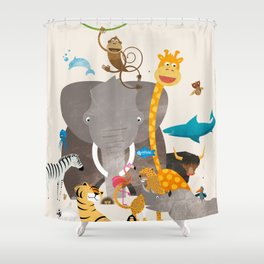Kids Room Animals – Illustration for the sleeping room of girls and boys Shower Curtain