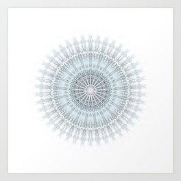 Grayish Blue Geometric Mandala Art Print