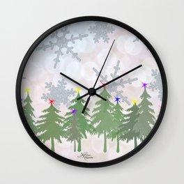 Brrrrrr Glittery Snowflake Snowy Forest Wall Clock