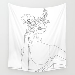 Minimal Line Art Woman with Flowers II Wall Tapestry