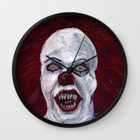 pennywise Wall Clocks featuring Pennywise by Eric Dockery