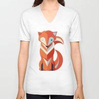 fox V-neck T-shirts featuring Fox by Jay Fleck