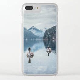 Couple of swans, romantic scene in bavarian alps Clear iPhone Case