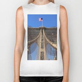 Stars and Stripes over Brooklyn Bridge, Manhattan, New York, U.S.A. Biker Tank