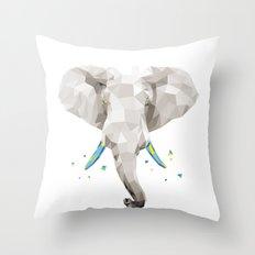 Geosafari   Elephant (White) Throw Pillow