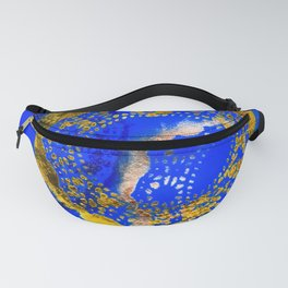 Royal Blue and Gold Abstract Lace Design Fanny Pack