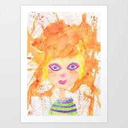 Orange girl Art Print