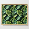 Watercolor Botanical Tropical Palm Leaves on Solid Black Background by pipafineart