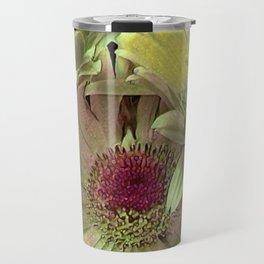 Rainbow Floral Yellow Lime Travel Mug
