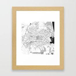 Christchurch Map Gray Framed Art Print